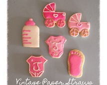 sale baby shower sugar cookie favors girl baby shower cookie favors