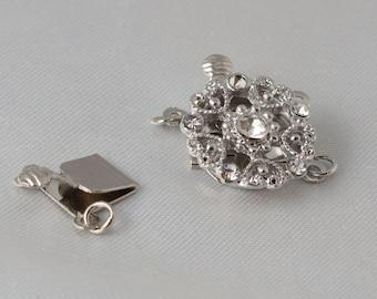2 sets - 15mm Double Strand Antique Silver Rhinestone Filigree Single Strand Box Clasp Bridal Jewelry