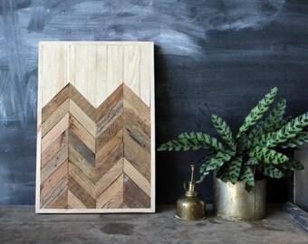 Navajo Tribal Geometric Wood Patterned Wall Panel Art, Reclaimed Barnwood, Pine, Chesnut, Oak,  Arrow Chevron - - Angetenar Pattern