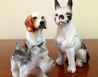 SALE-Set of 3 Vintage Porcelain Dogs Boxer Hound Terrier