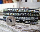 Wrap bracelet with tiny blue green picasso czech glass and semiprecious hematite beads