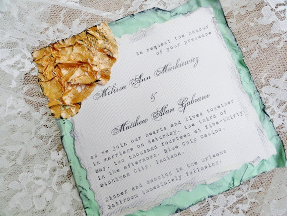 Special Order for Rachel Chaney Vintage Shabby Chic Wedding Invitations Gold Mint Sitting Pretty Papers Handmade Invitations OOAK Shower