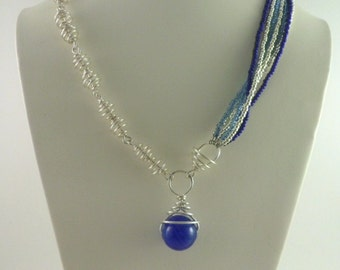 Silver and Cobalt Blue Bead Necklace