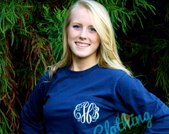 SALE-LONG SLEEVE Monogrammed Pocket Tee Available in sizes Small-XXLarge