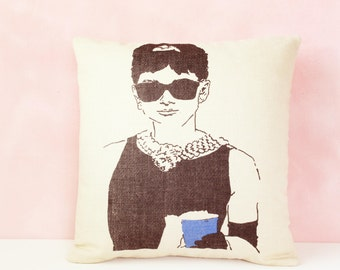 Audrey Hepburn Pillow Cushion, Pillow, Decorative Throw Pillow, Throw Pillow Cover, Cushion Cover, 16 x 16 Pillow Cover