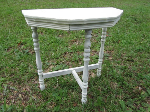 White Nightstand Side Table: Shabby Chic Side Table Nightstand Vintage By
