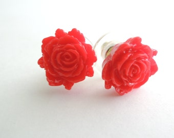 Red Rose Post Earrings Red Flower Studs Valentine Gift Red Earrings Red Post Earrings Rose Earrings Flower Earrings Small Red Post Earrings