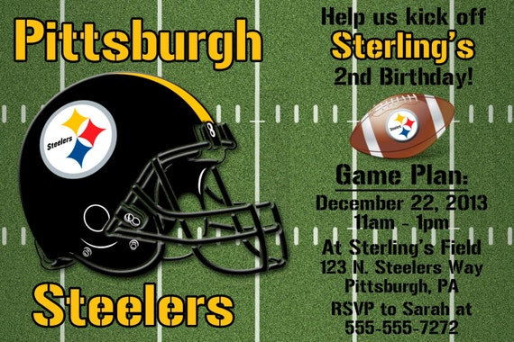 Pittsburgh steelers football invitation or thank you card like this item filmwisefo Gallery