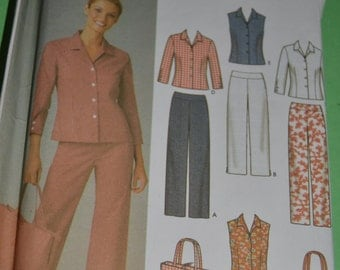 "Simplicity 5204  ""Misses/MIss Petite Pants in two lengths Skirt Shirt and Bag Sewing Pattern  UNCUT Sizes 14 - 22"