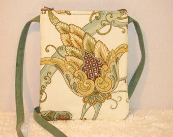 Small Purse Long Strap Hand Beaded, Swarovski Jewels Home Décor Fabric, Green Denim - Womens Shoulder Bag