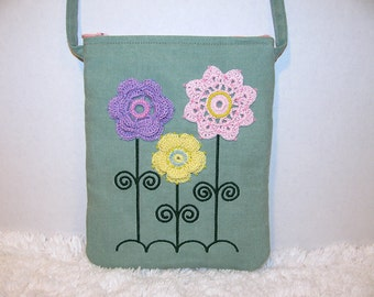 Small Green Denim Purse Crossbody Strap Crocheted Pink, Lavender, Yellow Flowers, Beading, Embroidery - Womens Shoulder Bag