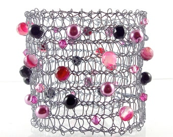 Statement Cuff Bracelet, Grey and Hot Pink, Knitted Wire With Crystals, Pearls & Semi Precious Stones