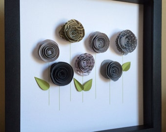 Rose Garden, 3D Paper Art,Customize with your colors and personalize