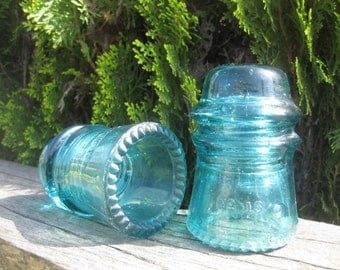 Two Turquoise Glass Electrical Insulators Hemingray No 16 Aqua Blue