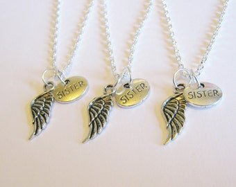 3 Sisters Angel Wings Necklaces BFF