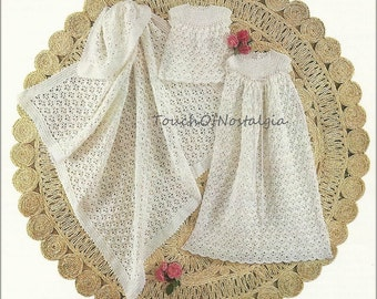 "Bonus CHRISTENING Gown Set Crochet Pattern - HEIRLOOM Dainty Long Gown 36"" Length - Includes BONUS Fancy Baby Bottle Cover / Beautiful"