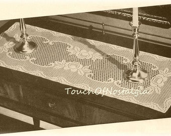 Doily RUNNER Vintage Crochet Pattern  - Absolutely Gorgeous VICTORIAN ROSE Lace Runner - Lacy Eyelet / Scrolls