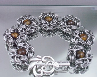 Tigers Eyes Chainmaille Romanov Bracelet