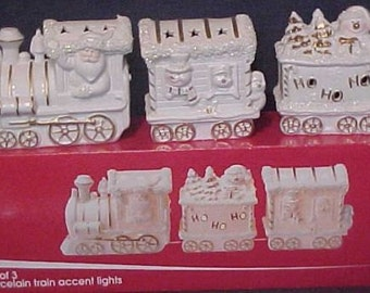 Set of Three JC Penney Christmas Train Accent Lights