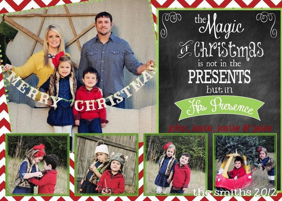 Photo Christmas Card | Chevron Chalkboard | Digital Christmas Card {L3}