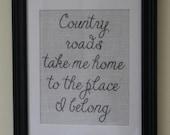 Country Roads Take Me Home Burlap Wall Print