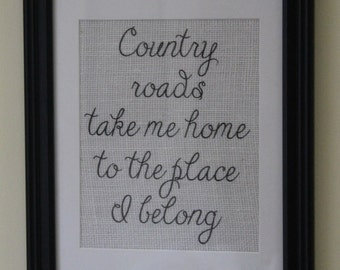 Country Roads Take Me Home Burlap Wall Print