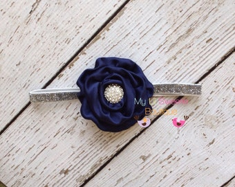 Navy blue headband - sparkly headband- newborn headband- infant headband- toddler headband- rosette headband