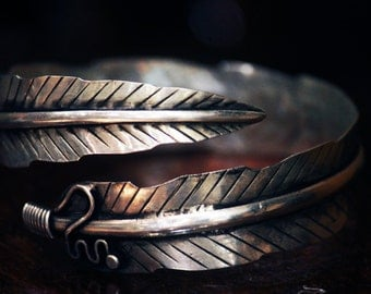 Feather arm cuff bracelet Miao Hmong tribal ethnic silver jewelry bohemian