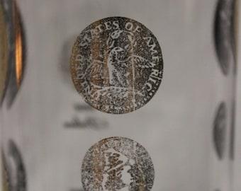 Vintage  Cera Black & Gold American Coins Glass Decanter