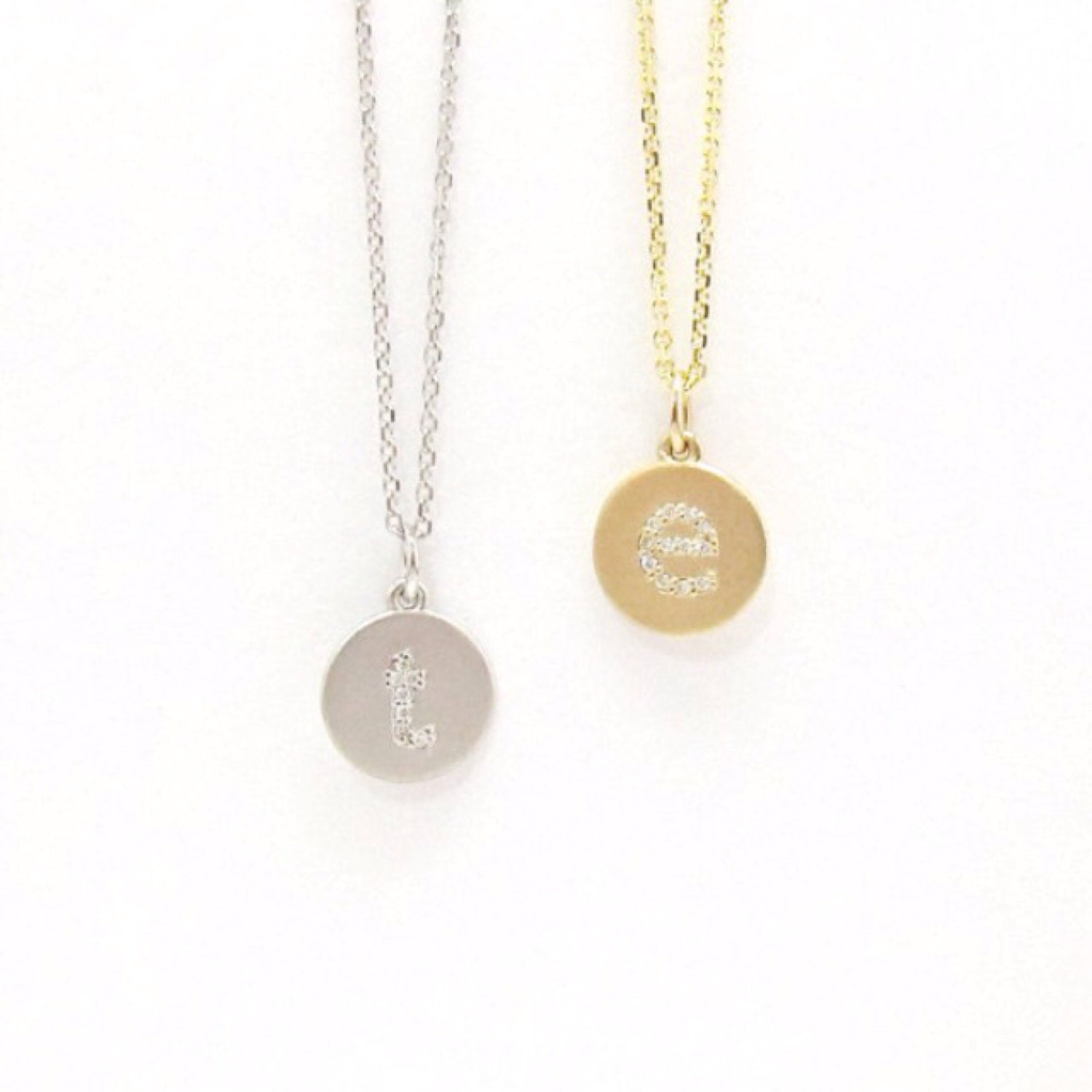 Mini diamond initial disc necklace lowercase 14k yellow white mini diamond initial disc necklace lowercase 14k yellow white or rose gold matte or shiny finish natural diamonds mozeypictures Image collections