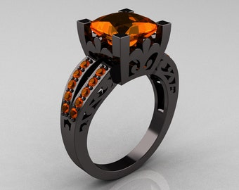French Vintage 14K Black Gold Princess Orange Sapphire  Solitaire Wedding Ring R222-BGOS