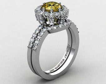 French 14K White Gold 1.0 Ct Yellow Sapphire Diamond Engagement Ring Wedding Band Set R408S-14KWGDYS