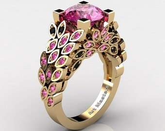 Art Masters Nature Inspired 14K Yellow Gold 3.0 Ct Pink Sapphire Black Diamond Engagement Ring Wedding Ring R299-14KYGBDPSS
