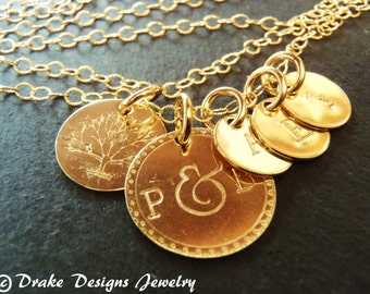 Gold filled tree family necklace custom mom necklace initial personalized