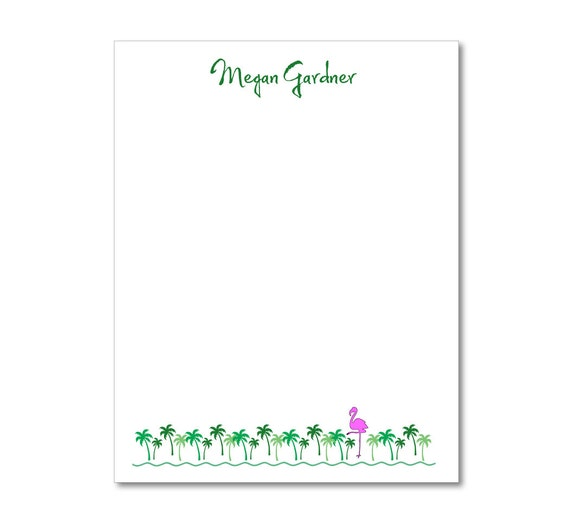 Personalized Notepads - Tropical Palms with Flamingo - Set of 2