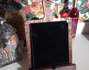 iPad cookbook holder rustic cutting board style stained new birthday gift cook