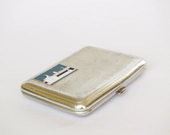Vintage Russian Cigarette Case Leningrad/ St. Petersburg. Metal Cigarette Holder With Enamel Picture. Business Cards Holder. Old Metal Box.