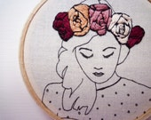 RESERVED FOR LANDOFHOW1 Floral Crown Embroidery 'Macie' in Blueberry 3 inch Hoop Art
