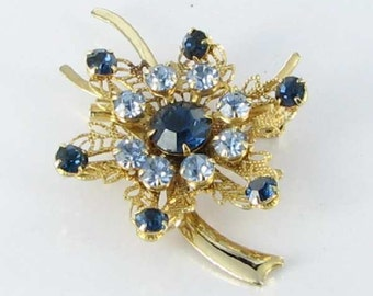 Blue RHINESTONE 1950s brooch pin rivet back Filigree Flower broach