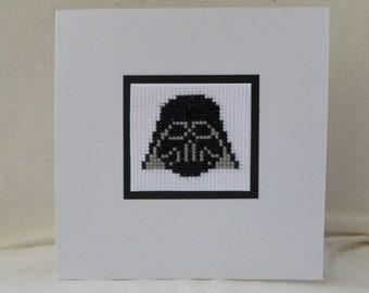 Darth Vader Cross Stitch Card