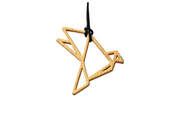 3D Printed Goldplated Pendant Origami Dove
