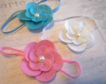 set 3 headbands, baby headbands, newborn headbands,headband set, flower headbands, felt flower , felt flower headband, baptism, baby shower