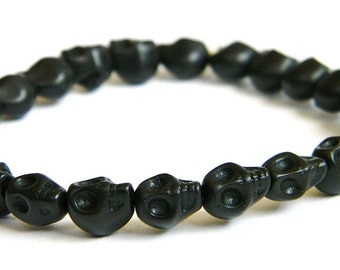 Small (8mm) Day of the Dead Skull Bracelet (Dia De Los Muertos - All Saints Day) Available in Various Colors