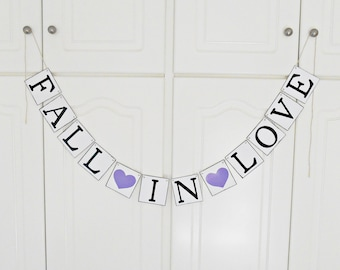 FREE SHIPPING, Fall in Love banner, Bridal shower banner, Wedding banner, Engagement party decoration, Photo prop, Bachelorette party,Purple