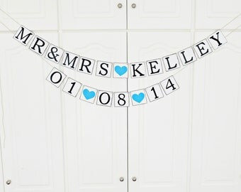 FREE SHIPPING, Personalized wedding banner, Save the date, Bridal shower banner, Engagement party decoration, Bachelorette party decor, Blue