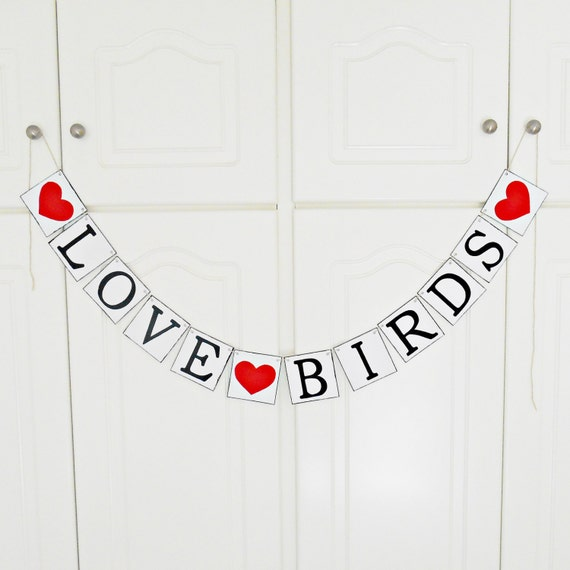 FREE SHIPPING, Love Birds banner, Bridal shower banner, Wedding banner, Engagement party decoration, Photo prop, Bachelorette party, Red