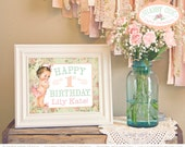 Shabby Chic Welcome Greeting Sign   personalized custom vintage first birthday party baby shower girl party