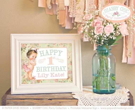 Shabby Chic Welcome Greeting Sign | personalized custom vintage first birthday party baby shower girl party