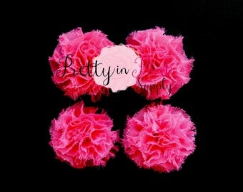 Hot Pink Mini Shabby Puffs...You Choose Quantity...Shabby Flowers...Mini Shabby Rosettes...DIY Headband supplies