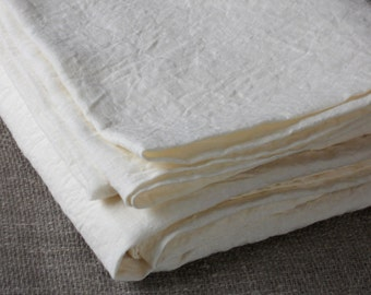 White linen bed sheet, flat double bed sheet, natural white washed vintage look pure flax sheet